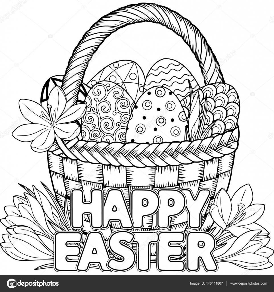 Buona Pasqua Nero E Bianco Doodle Pasqua Uova Nel Cestino Libro Da