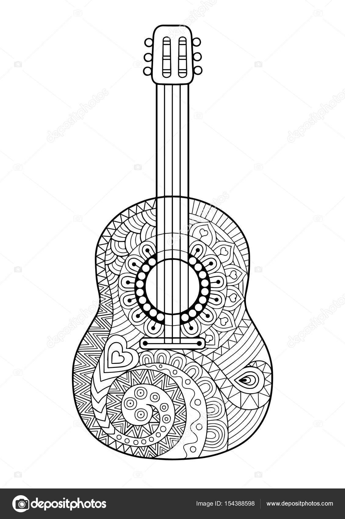 kleurplaat boek voor volwassene en ontspannen gitaar