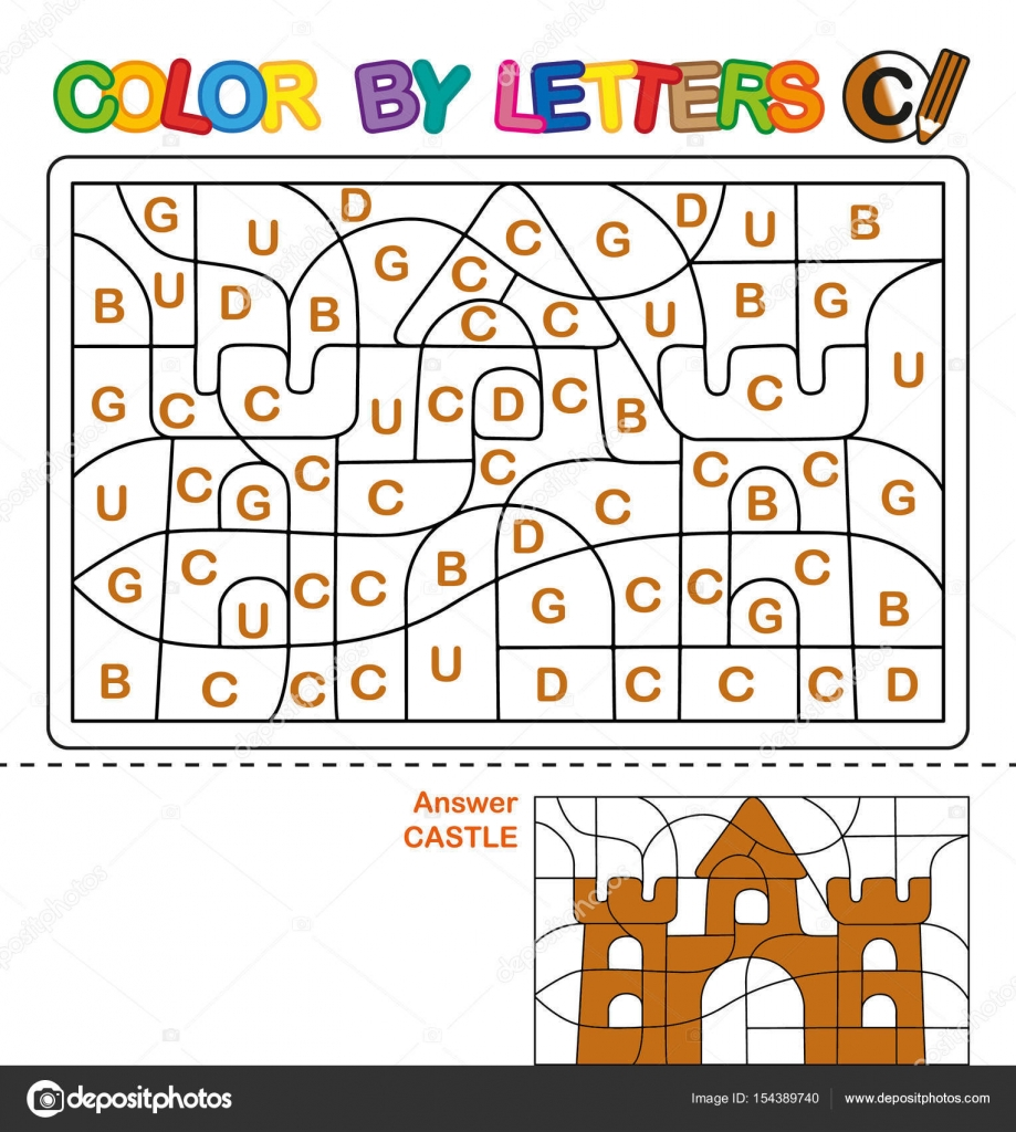 ABC Coloring Book For Children Color By Letters Learning The Capital Of Alphabet Puzzle Letter C Castle Preschool Education