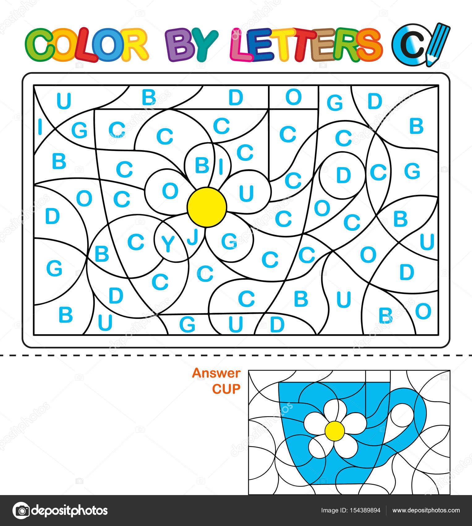 ABC Coloring Book For Children Color By Letters Learning The Capital Of Alphabet Puzzle Letter C Cup Preschool Education
