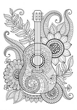 Vector Coloring Book for adult and relax. Guitar. Maxican