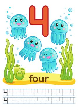 printable worksheet for kindergarten and preschool. Bright funny fishes, crabs, jellyfish, seashells, octopus, other marine life, plants, corals on the sea background