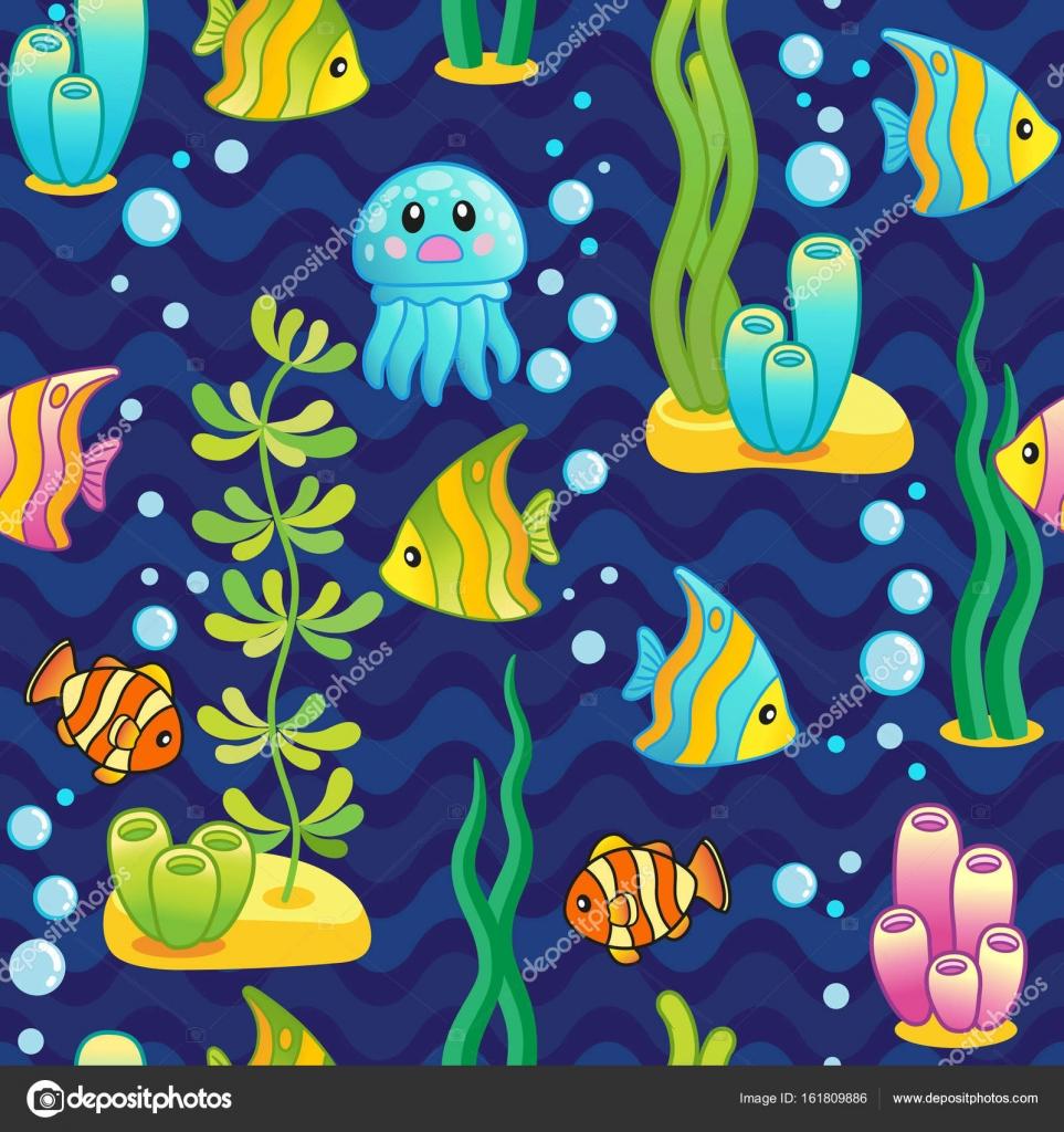 vector patrn diseo submarino y criaturas del mar divertido acuario diseo partido con brillantes peces