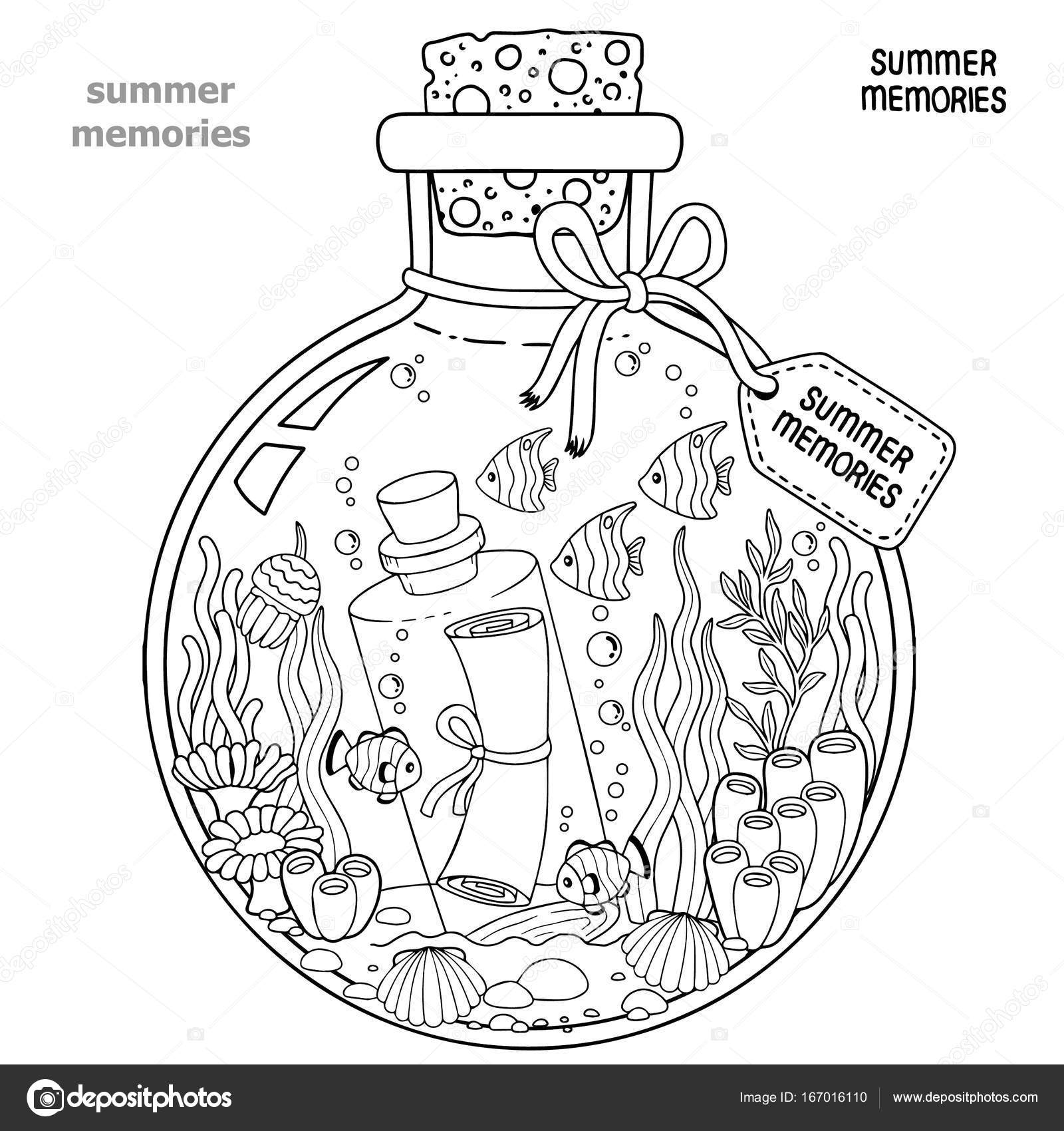 Coloring Book For Adults A Glass Vessel With Memories Of Summer Bottle Sea Creatures