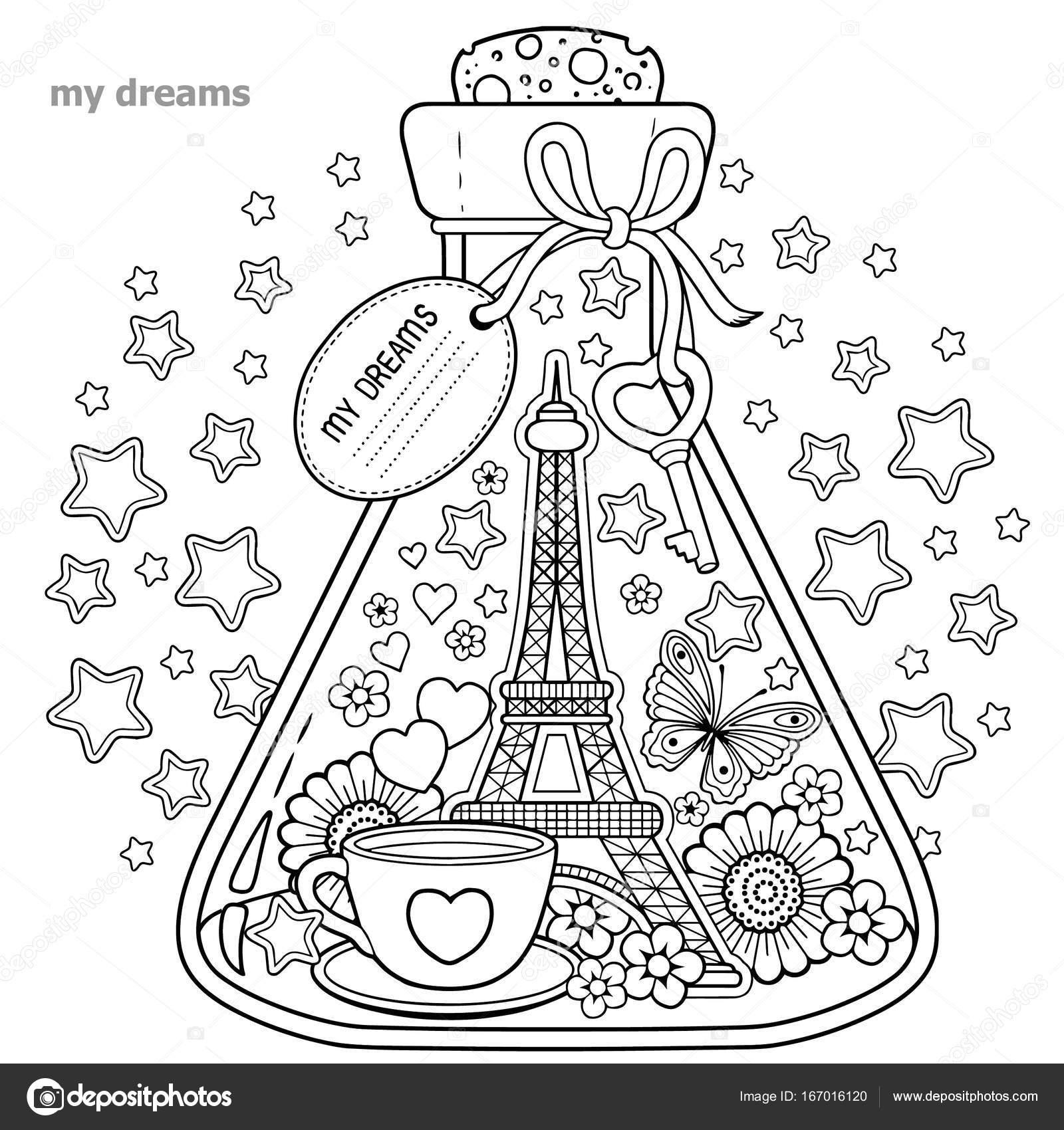 Vektor-Malbuch für Erwachsene. Ein Glasgefäß mit Träumen von Reisen ...
