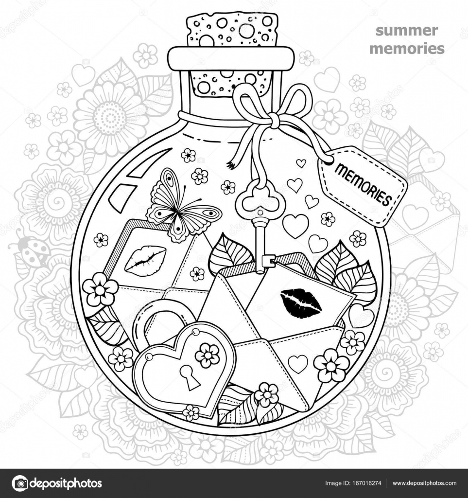 Vector Coloring book for adults. A glass vessel with dreams. A ...