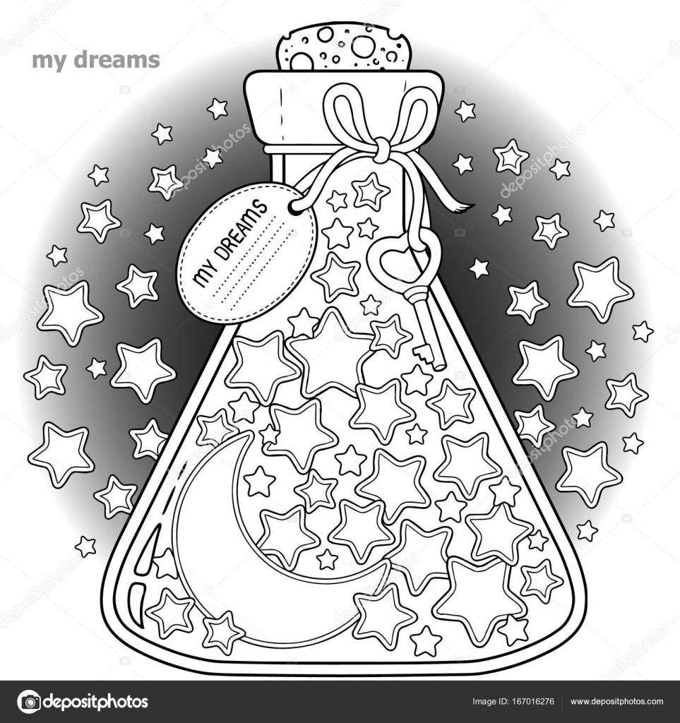 Vektor-Malbuch für Erwachsene. Ein Glasgefäß mit Träumen. Eine ...