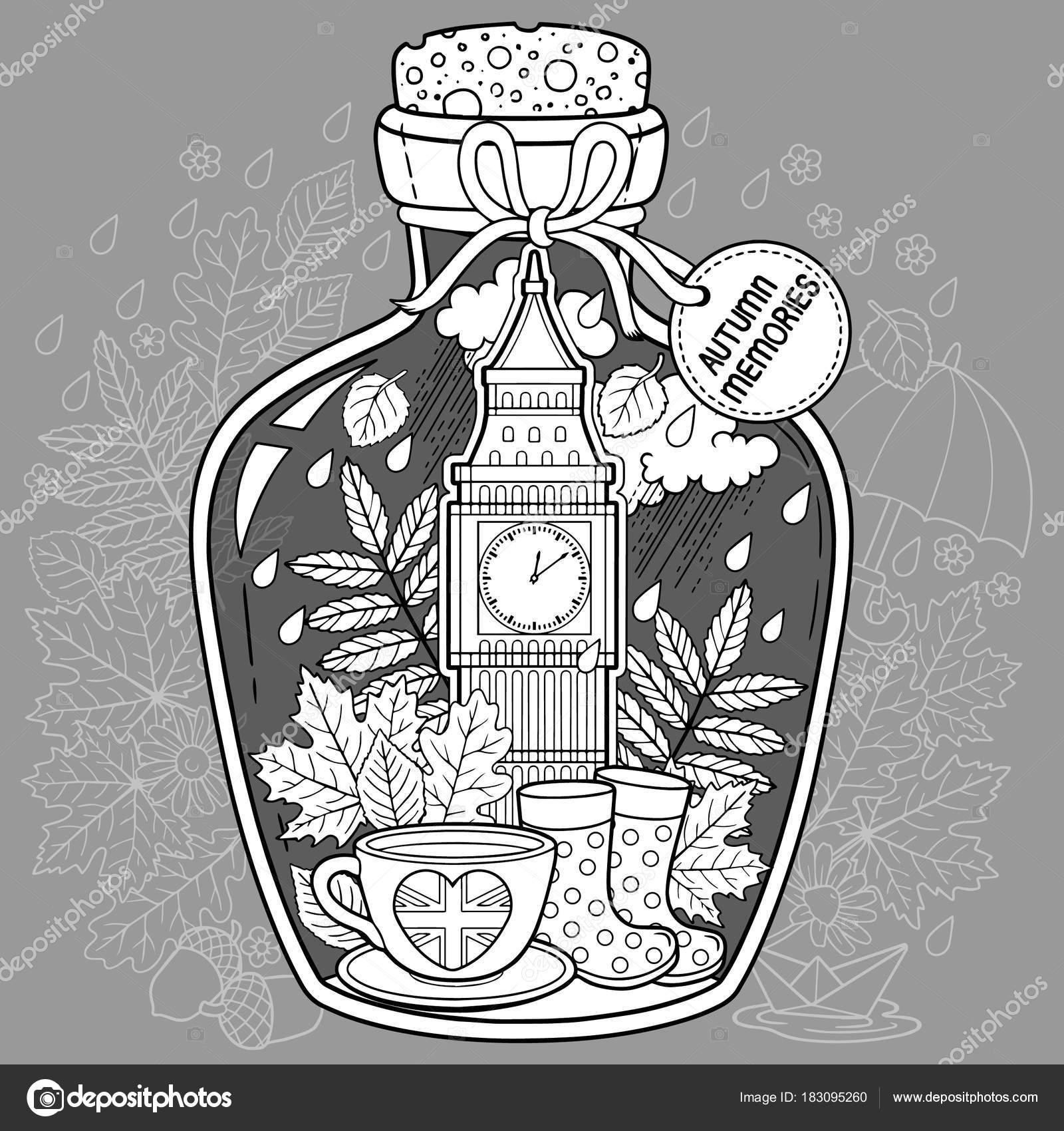 Coloring Book For Adults A Glass Vessel With Autumn Memories Of Dreams About Trip To London Bottle Rain Boots Leaves Cup Tea