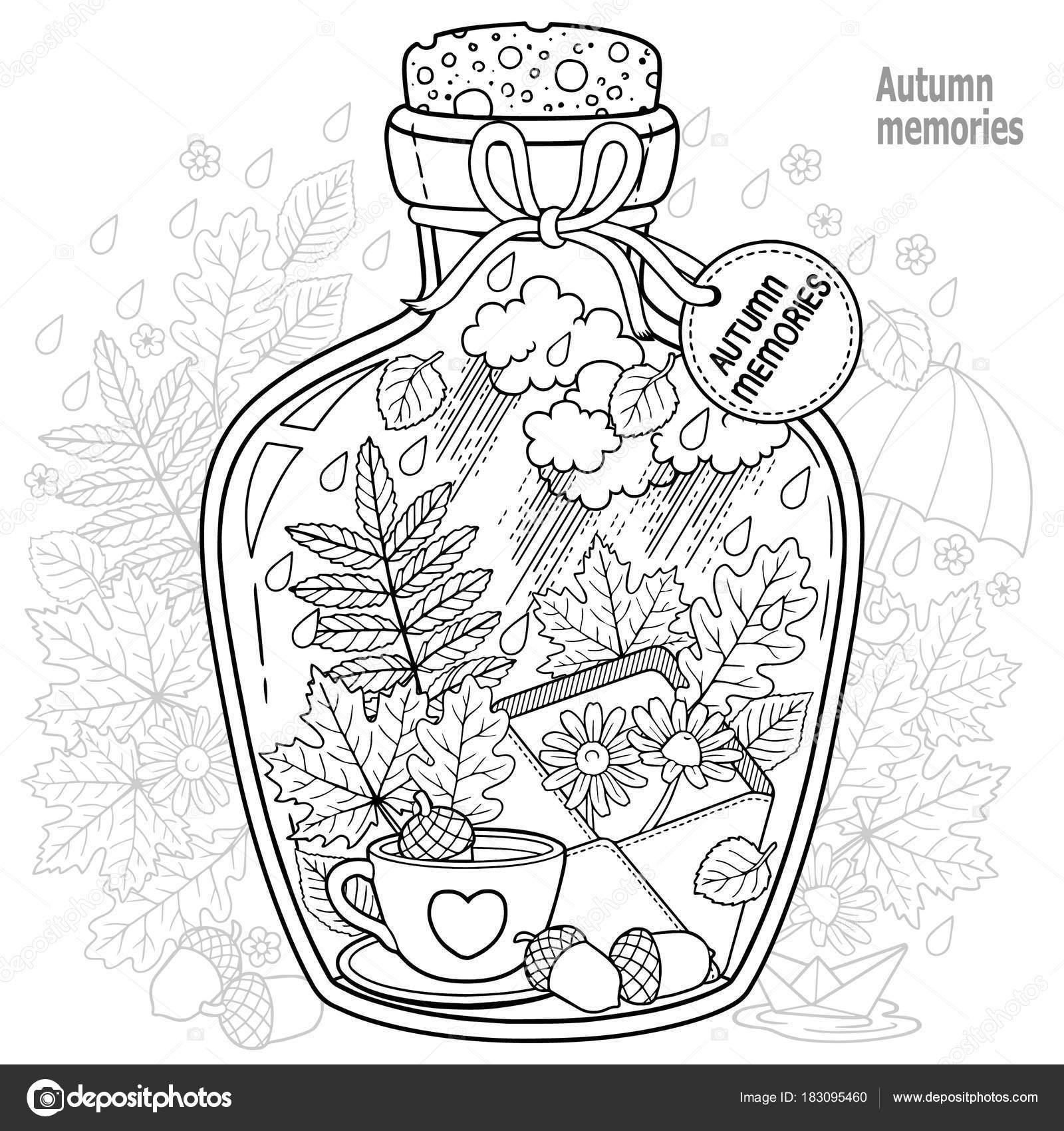 Volwassen Kleurplaat Person ベクトルの大人のための塗り絵 秋との愛の思い出のガラス容器 秋の紅葉 コーヒーや紅茶のカップ 花と悲しい気分の