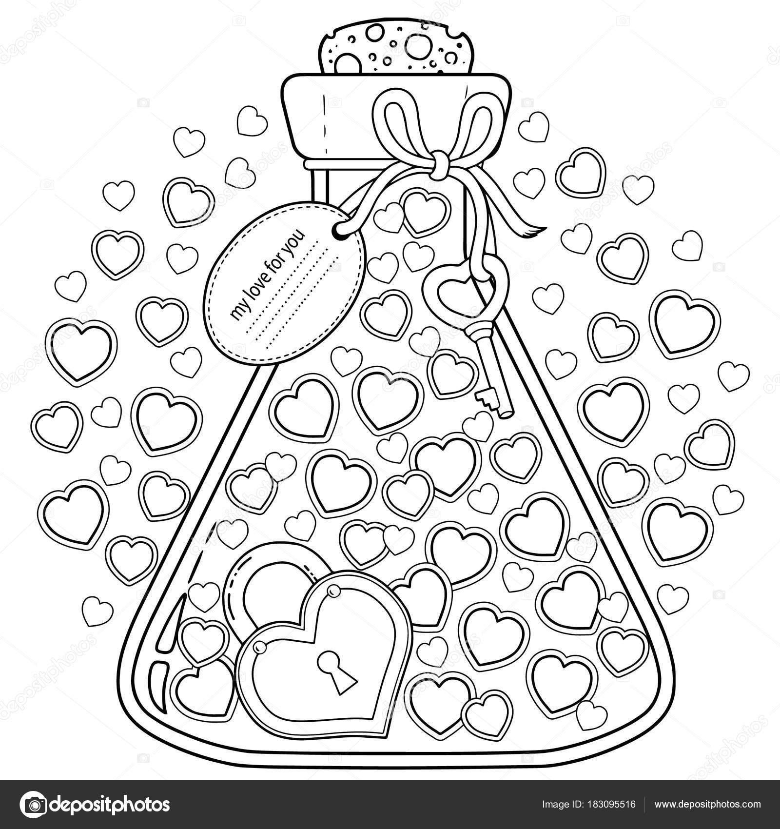 Kleurplaten Voor Volwassenen Love.Vector Kleurplaten Voor Volwassenen Aftelkalender Voor Valentijnsdag