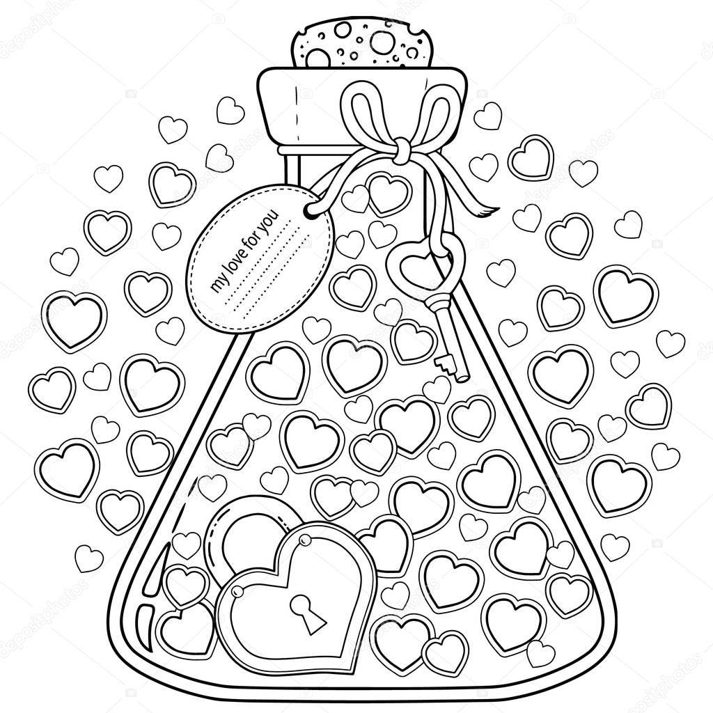 vektor malvorlagen für erwachsene zum valentinstag meine
