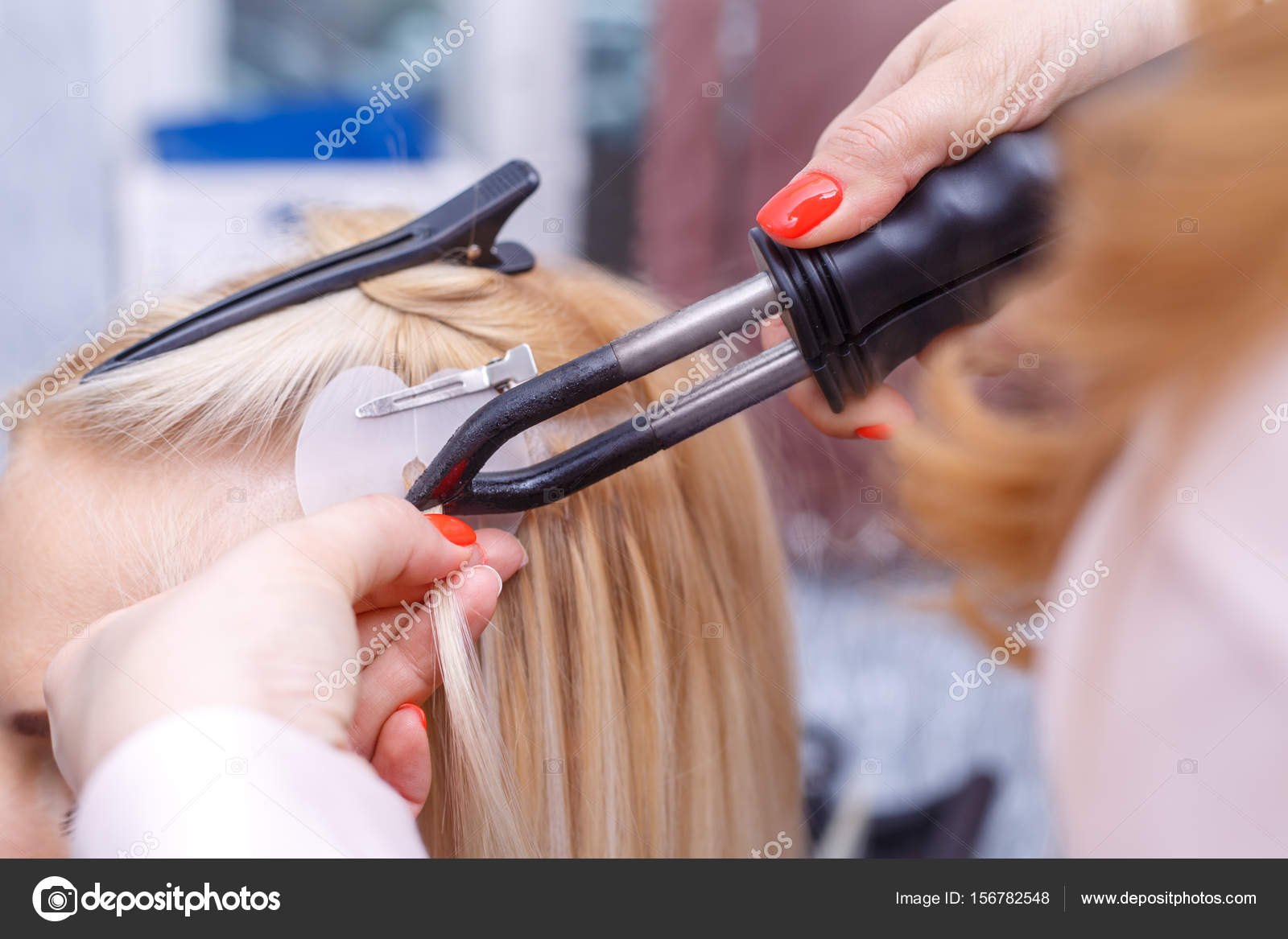 Hair Extensions Procedure Hairdresser Does Hair Extensions To Young