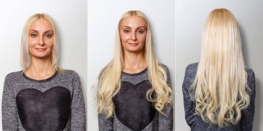 Hair extensions procedure. Hair before and after.