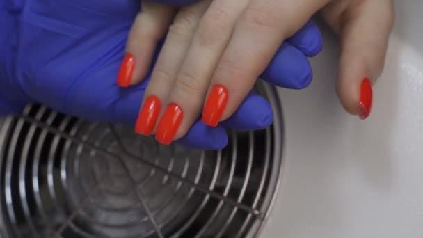 Detailní záběr Ruce krásné fenky s nalakovanými červenými nehty. Žena manikúra master kontroluje kvalitu práce.