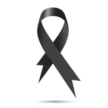 Black awareness ribbon isolate on white background, Vector illus
