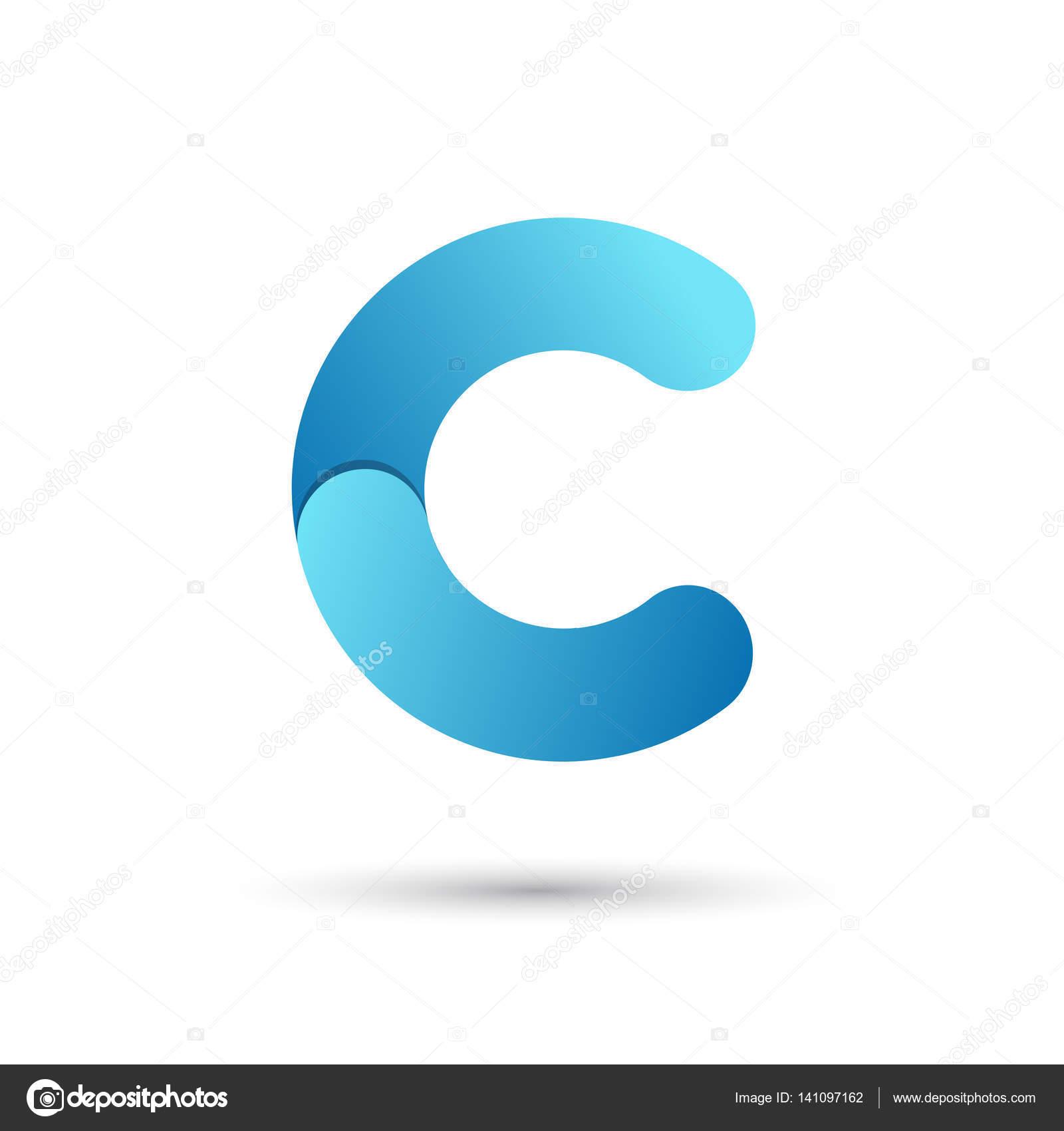 Lettre c avec des couleurs bleu sur fond blanc — Image vectorielle ...