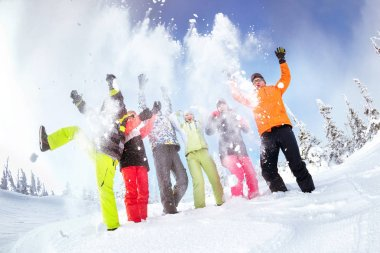Group friends ski snowboard skiing snowboarding concept
