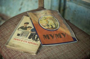 Ukraine, Pripyat - 19 August 2017: soviet literature in abandoned school 3 of Pripyat -
