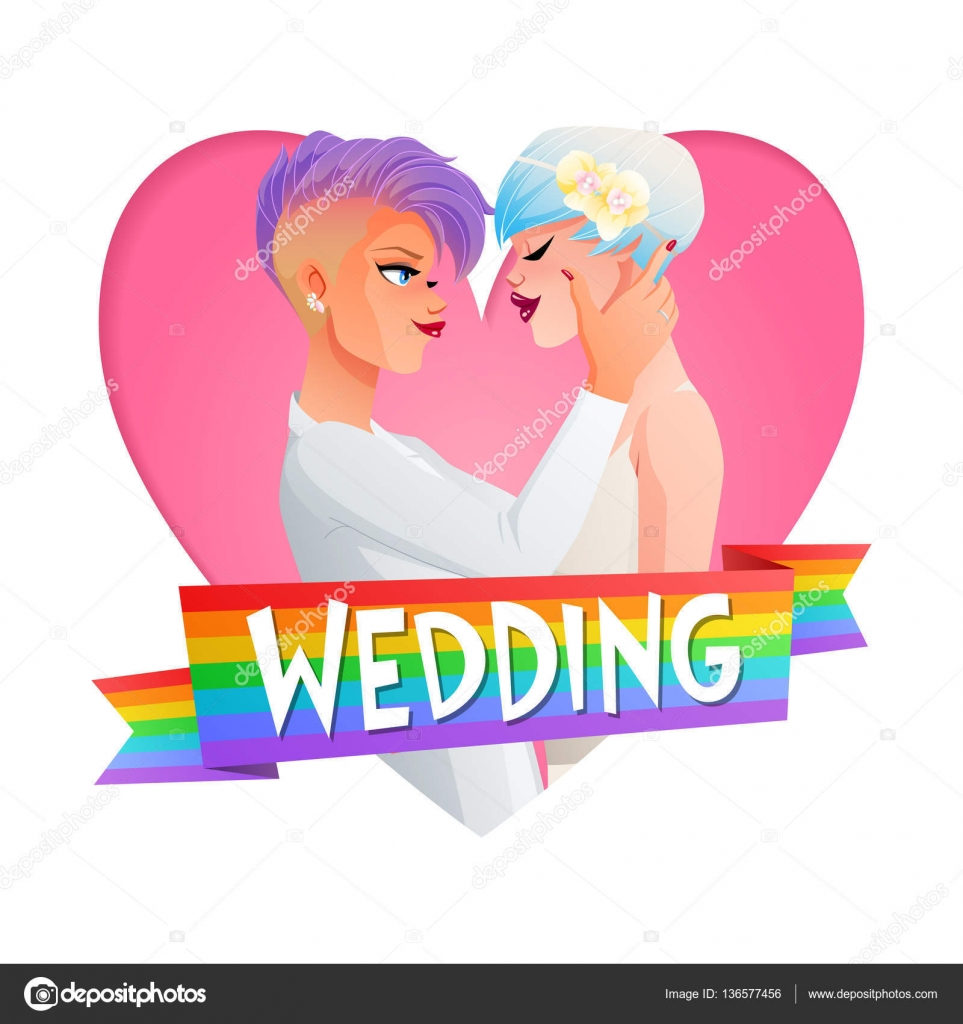 wedding lesbian couple. vector image with text. — stock vector