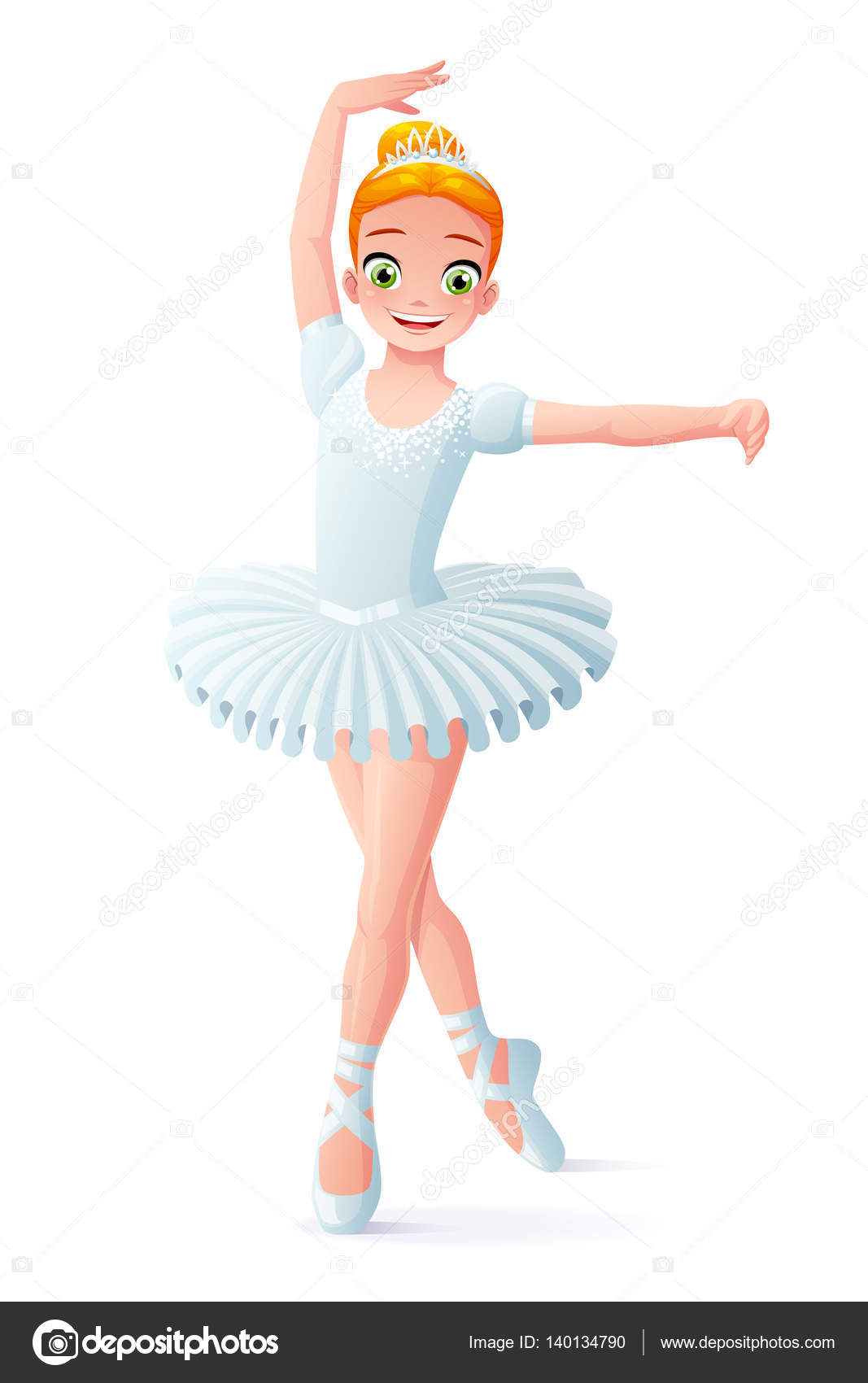 1f22e27ec47e4 Cute smiling young dancing ballerina girl in white tutu dress. Cartoon  style vector illustration isolated on white background.