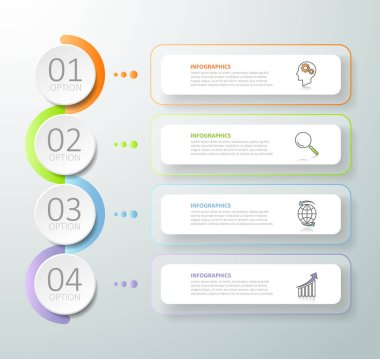 Abstract 3d infographic 4 options,  Business concept infographic