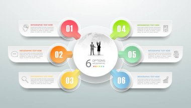 Abstract 3d infographic 6 options,  Business concept infographic