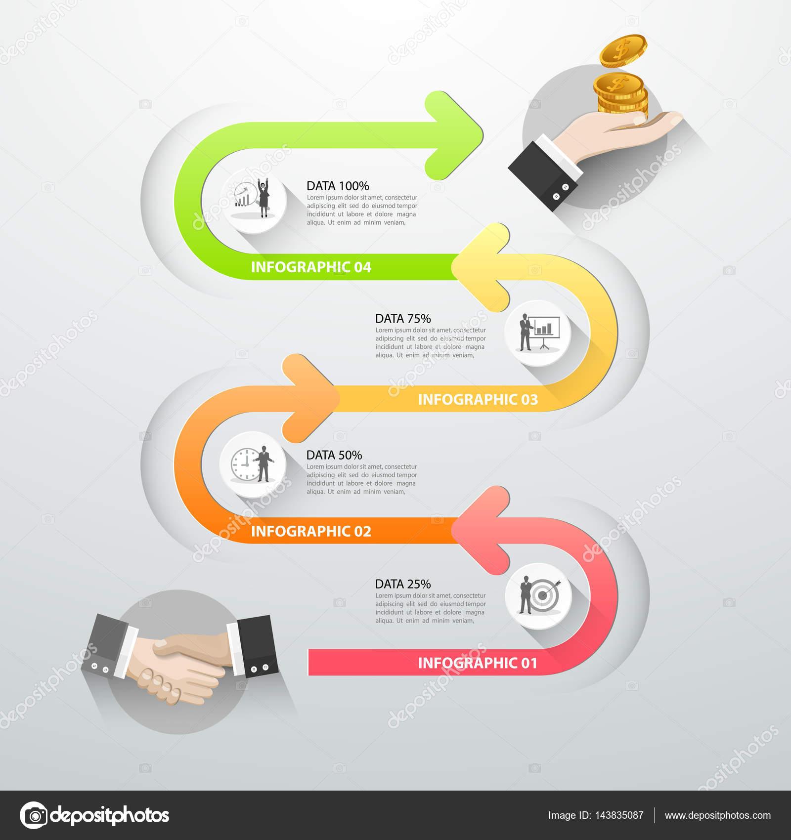 Línea de tiempo infografía 5 opciones, plantilla de negocio concepto ...