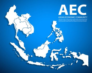 Design clean AEC, Asean Economic Community map,