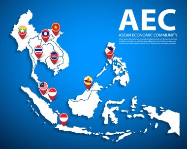 AEC, Asean Economic Community map with flag icons set