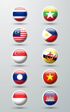 Asean Economic Community circle  flags