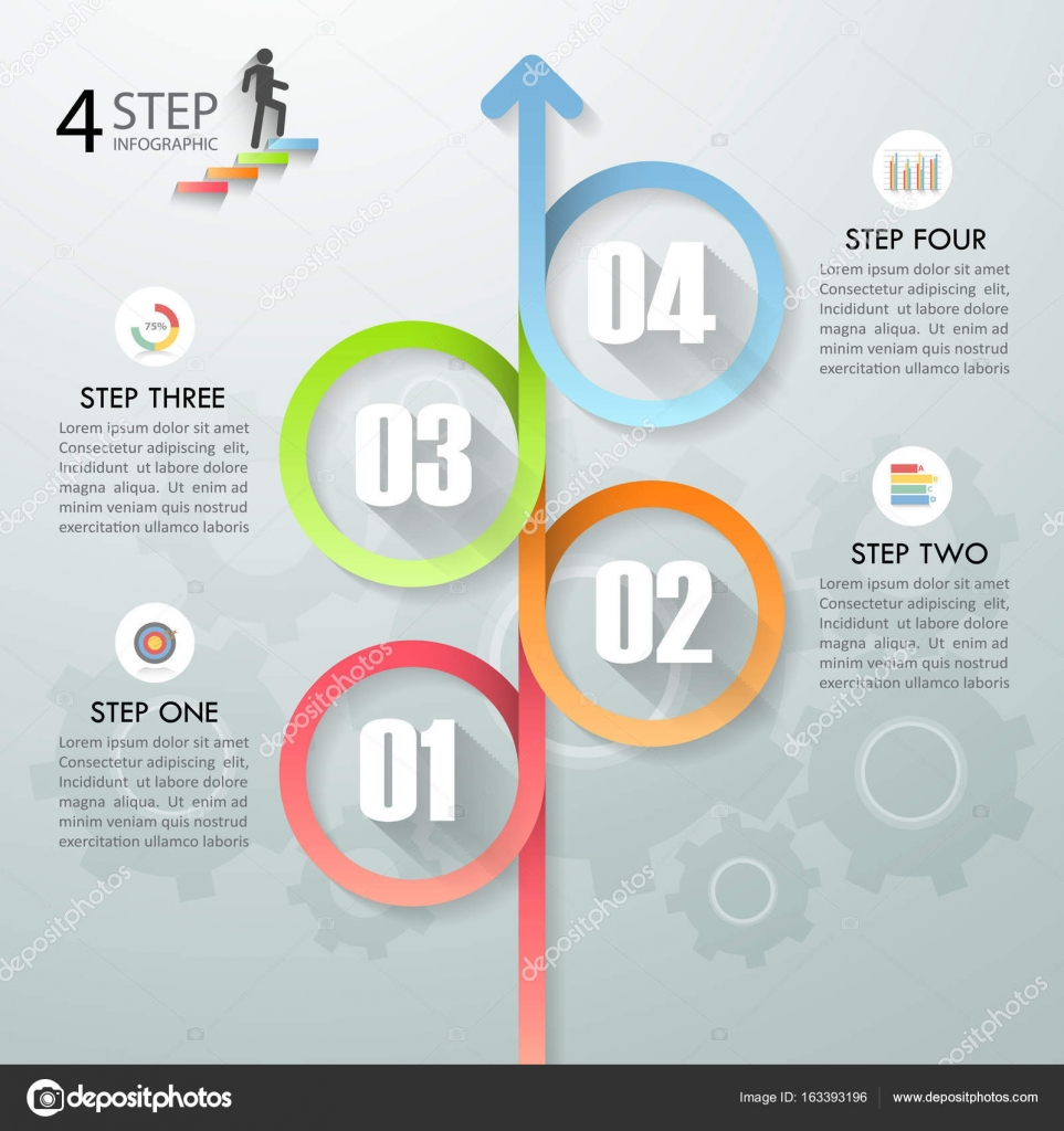 Infografía plantilla 4 opciones de diseño. Concepto de negocio ...