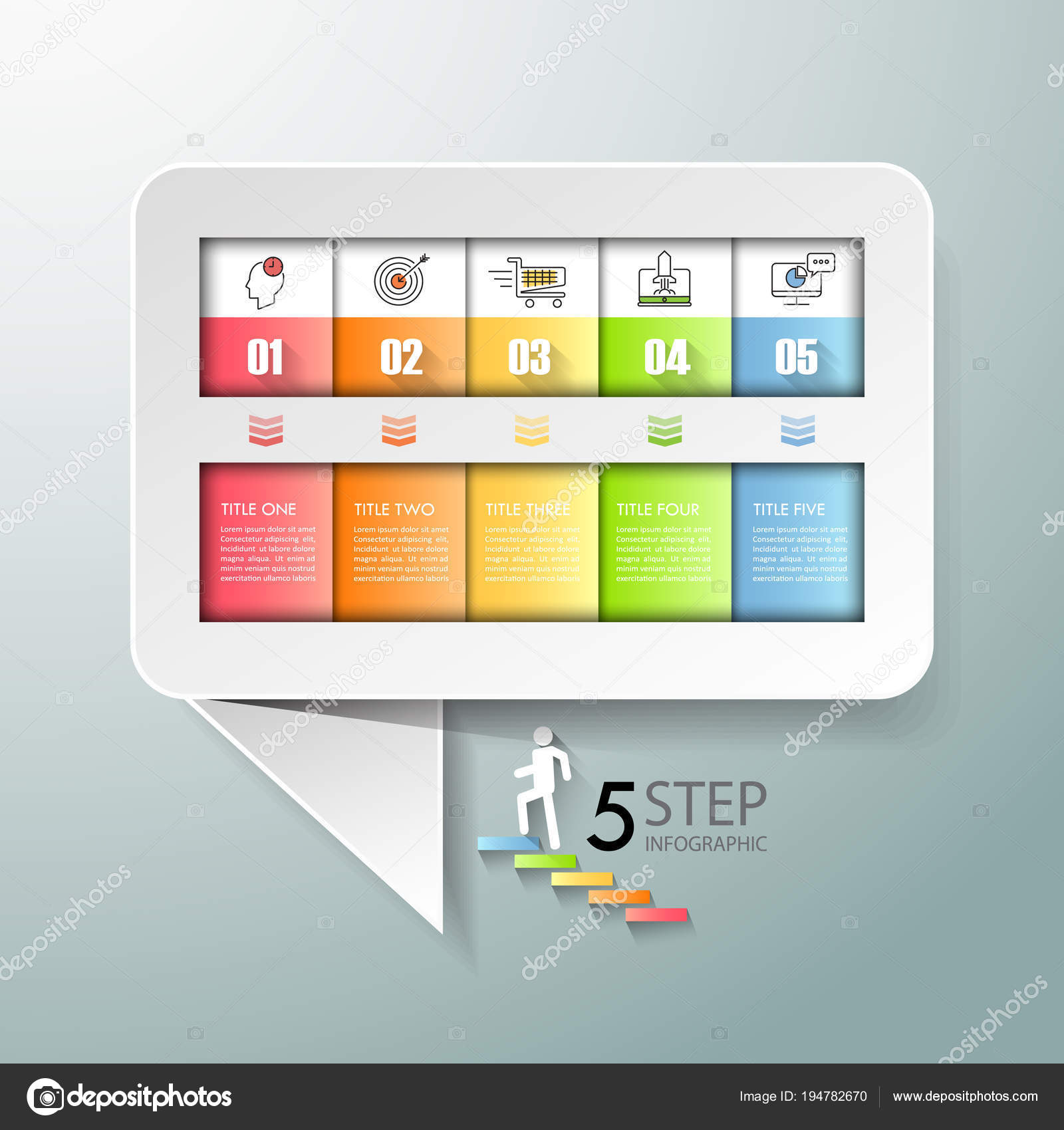 Speech text box infographic 5 options Business concept infographic