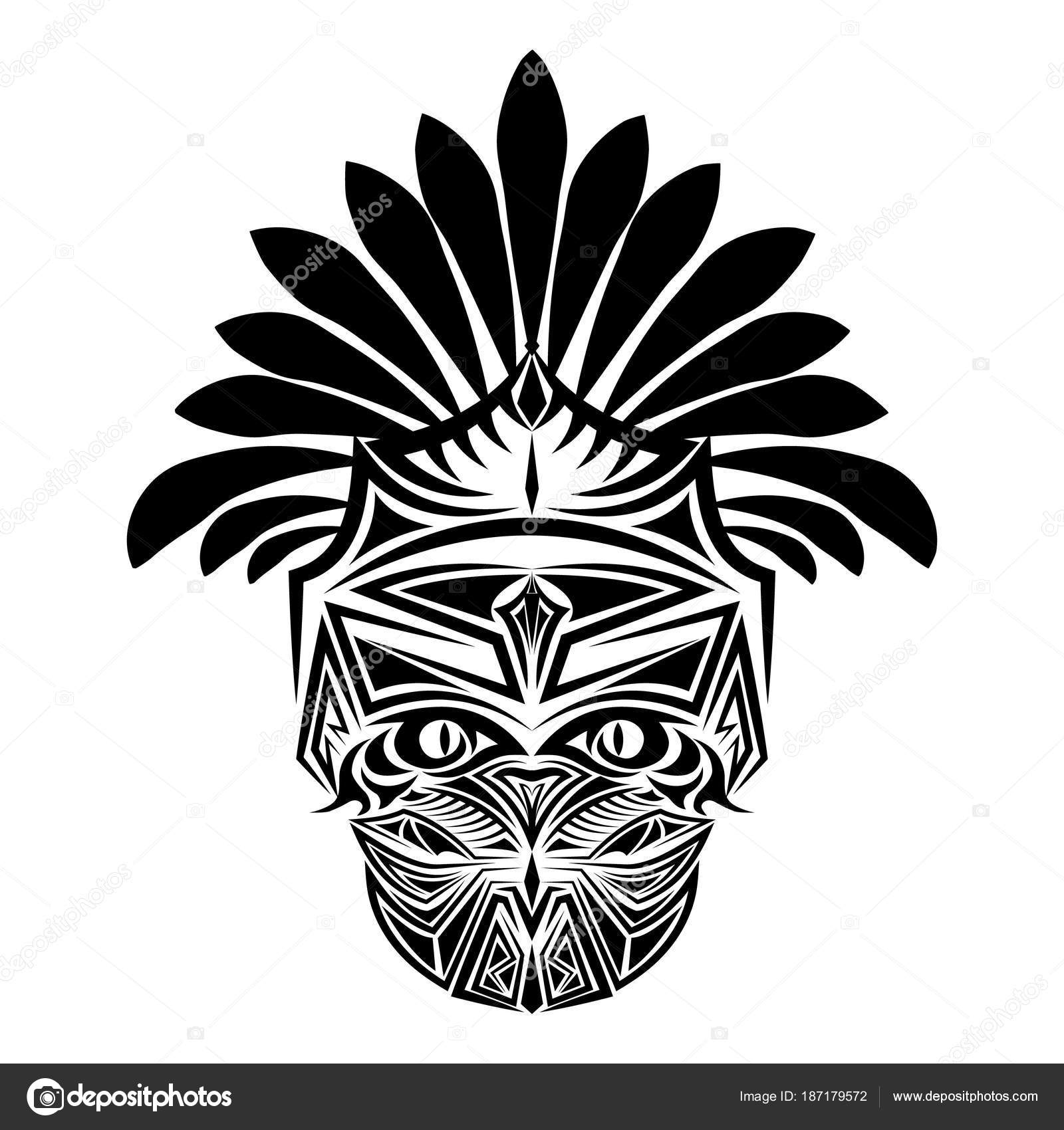 Abstract Vector Design Black Indian Head Tattoo Stock Vector