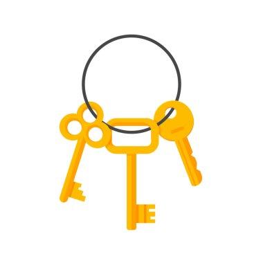 Keys hanging on key ring vector illustration