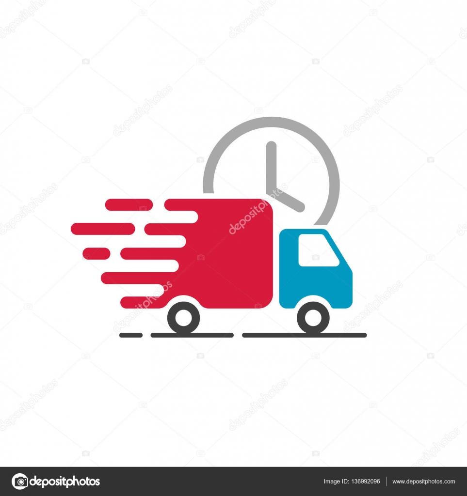 Icona del camion di consegna di vettore isolato su sfondo bianco furgone del carico linea piatta idea movimento veloce veloce spedizione servizio label
