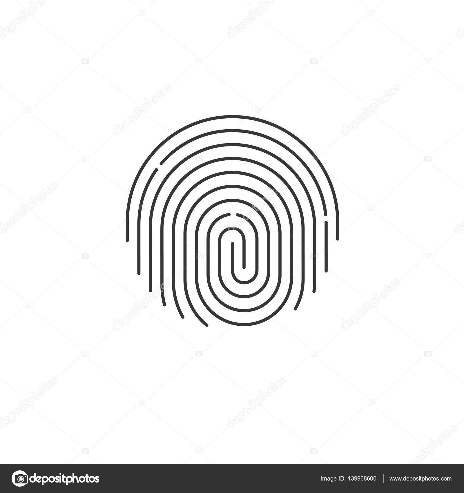 Fingerprint icon vector, round shaped finger print ...