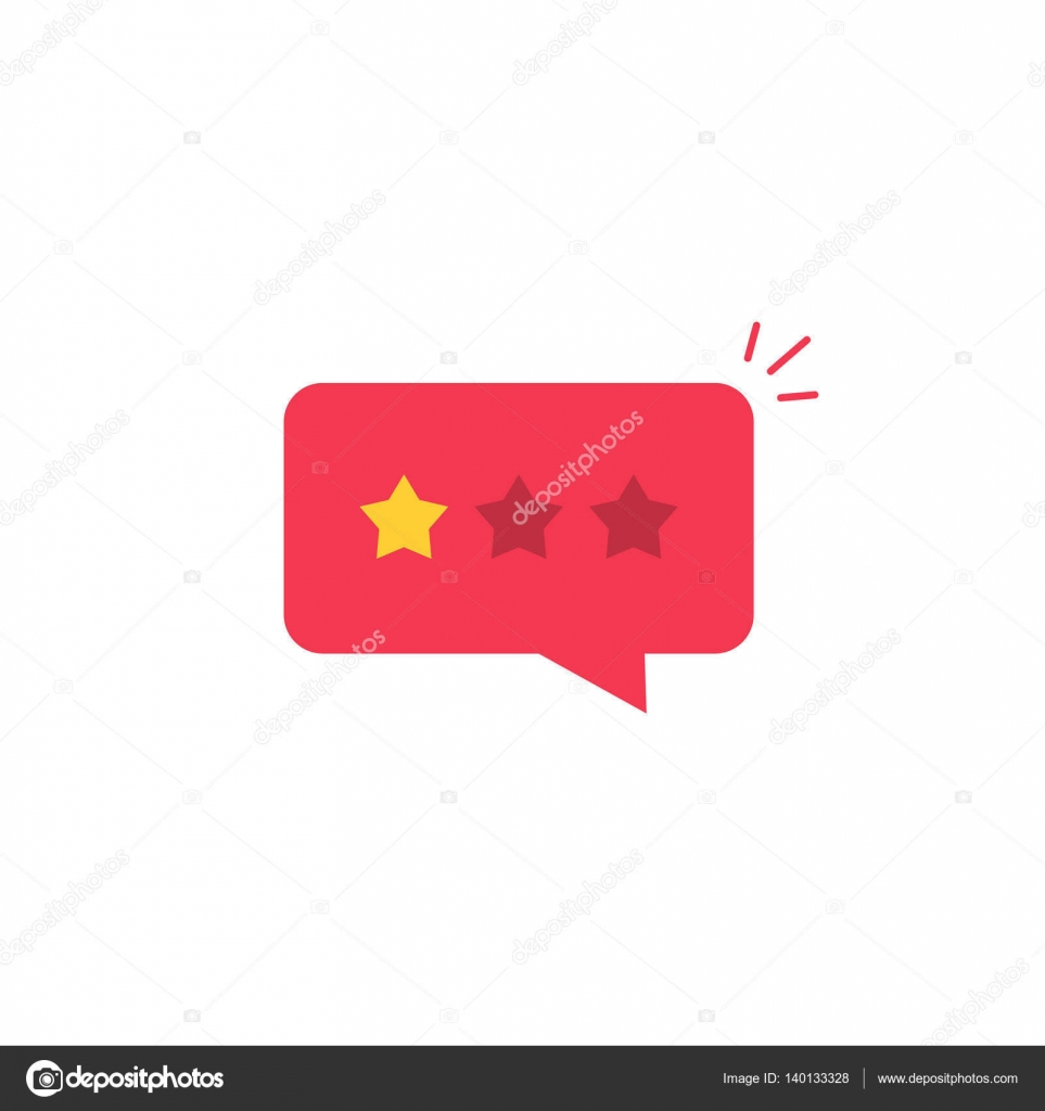 Bad review rating icon reviews stars negative rate testimonial bad review rating icon vector idea flat style review stars with negative rate in red chat bubble speech concept of testimonial message notification alert thecheapjerseys Images
