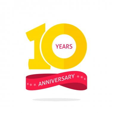 10 years anniversary logo template, 10th anniversary icon label, ten year birthday party symbol