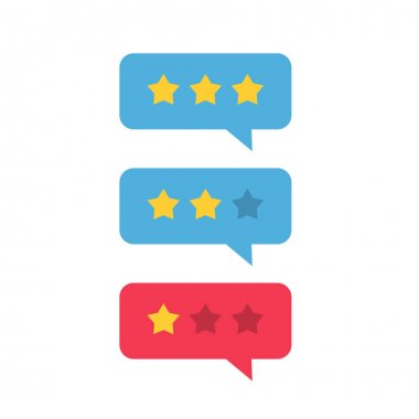 Review rating icon vector, review stars with good and bad rate chat bubble speech, concept of testimonial messages