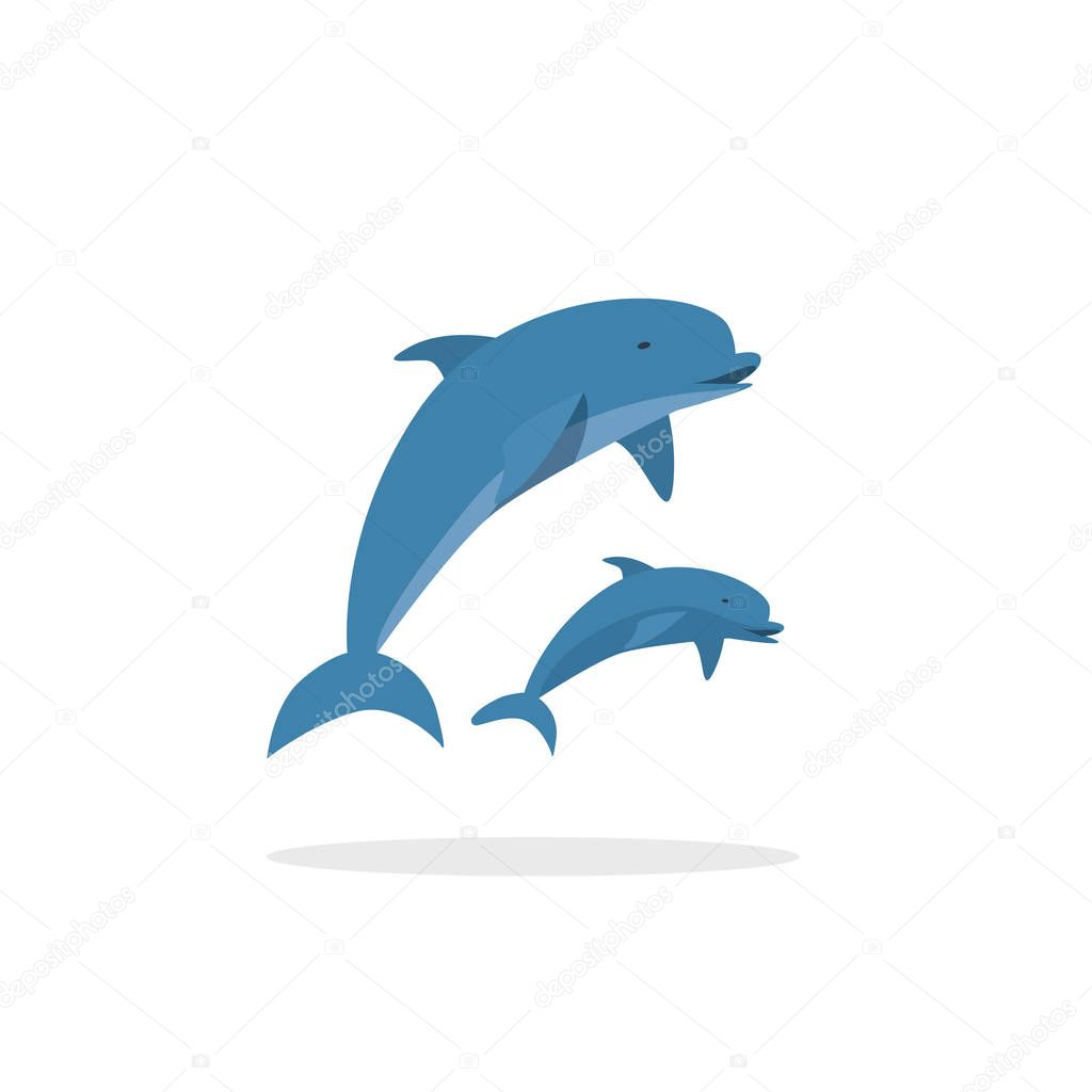 Dolphin vector illustration, flat style two jumping happy dolphins