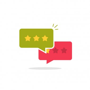 Reviews icon vector, flat style review stars in chat bubbles, testimonials