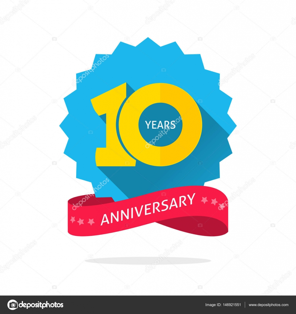 10 years anniversary logo template with shadow on blue color 10 years anniversary logo template with shadow on blue color rosette and number 10th anniversary icon label with ribbon ten year birthday symbol isolated biocorpaavc