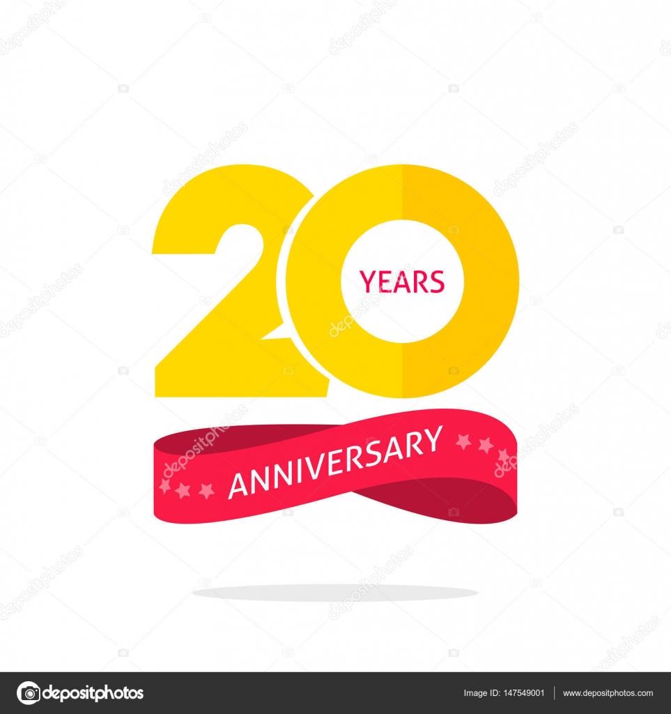 plantilla de logotipo de aniversario 20 años, etiqueta de icono de ...