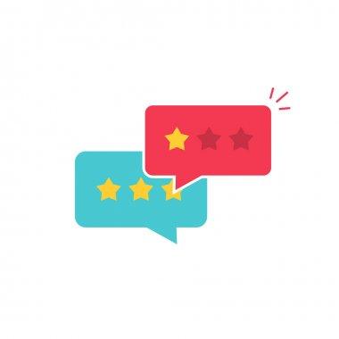 Customer review communication vector symbol, concept of feedback, testimonials, online survey, rating stars