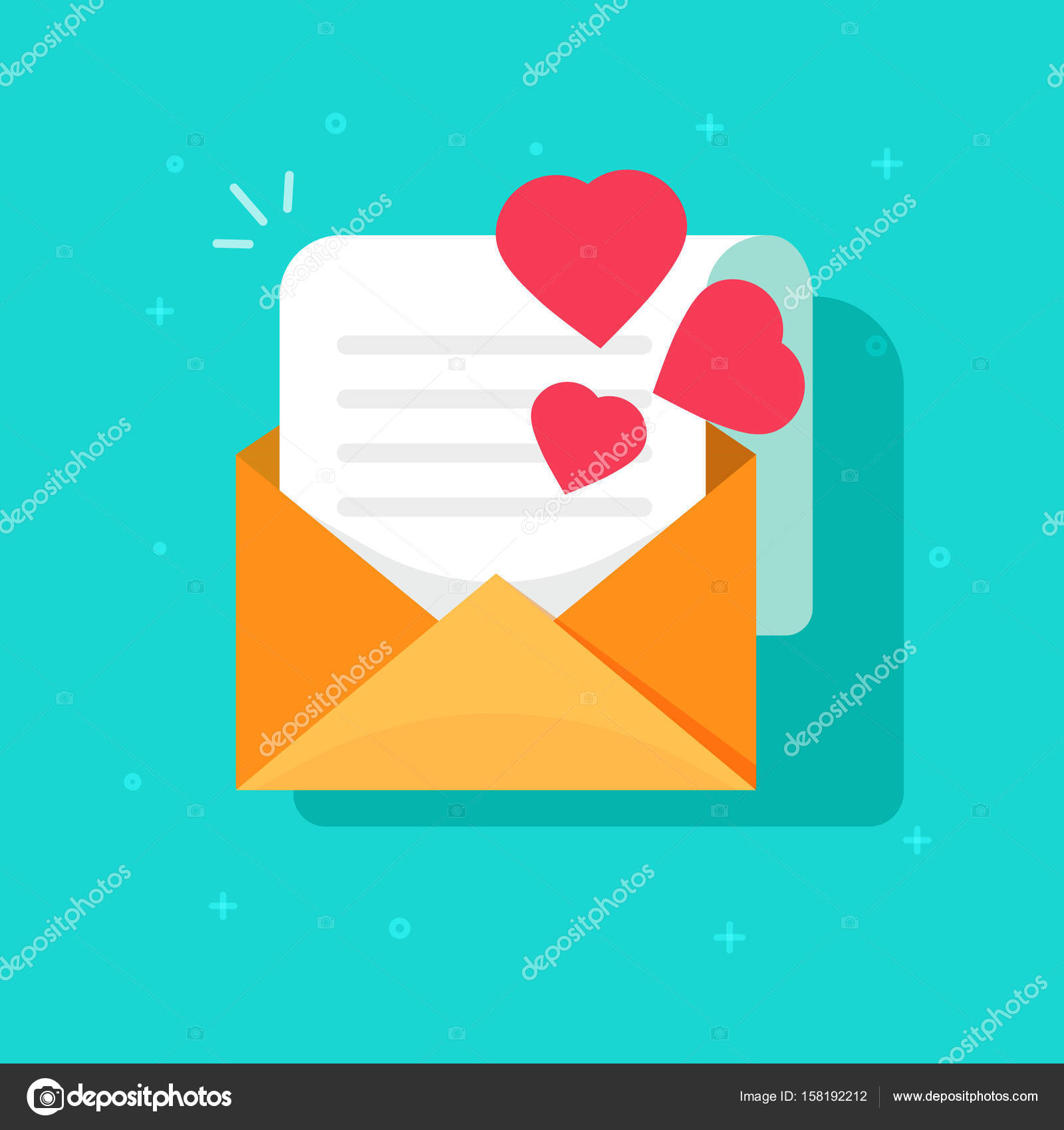 Love Confession Mail Or Email Vector Icon Flat Cartoon Open