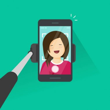 Selfie stick and smartphone making photo of yourself vector illustration, flat cartoon young happy girl with mobile phone make self photo