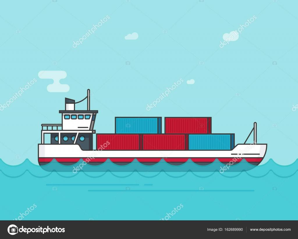 Cargo Schiff schwimmt auf Ozean-Wasser-Vektor-Illustration, Cartoon ...