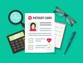 Kartu pacienta vektorové ilustrace, ploché karikatury lékařské záznamy, dokument a pacient data nebo informace o pohled shora tabulky, pojmu lékař pracovní stůl, diagnóza analyzovat, vyšetřování, lékařský výzkum