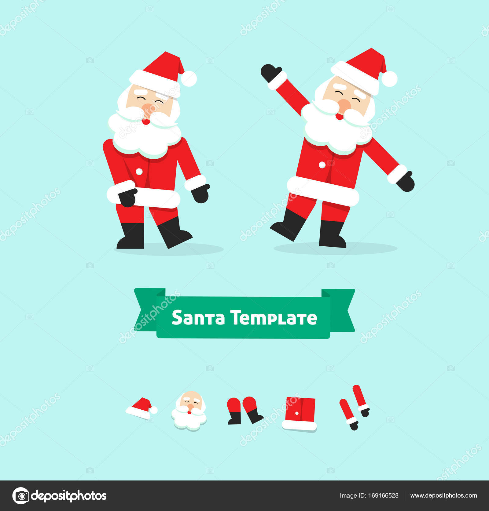 Christmas Santa Claus Collection Paper Style Vector Illustration