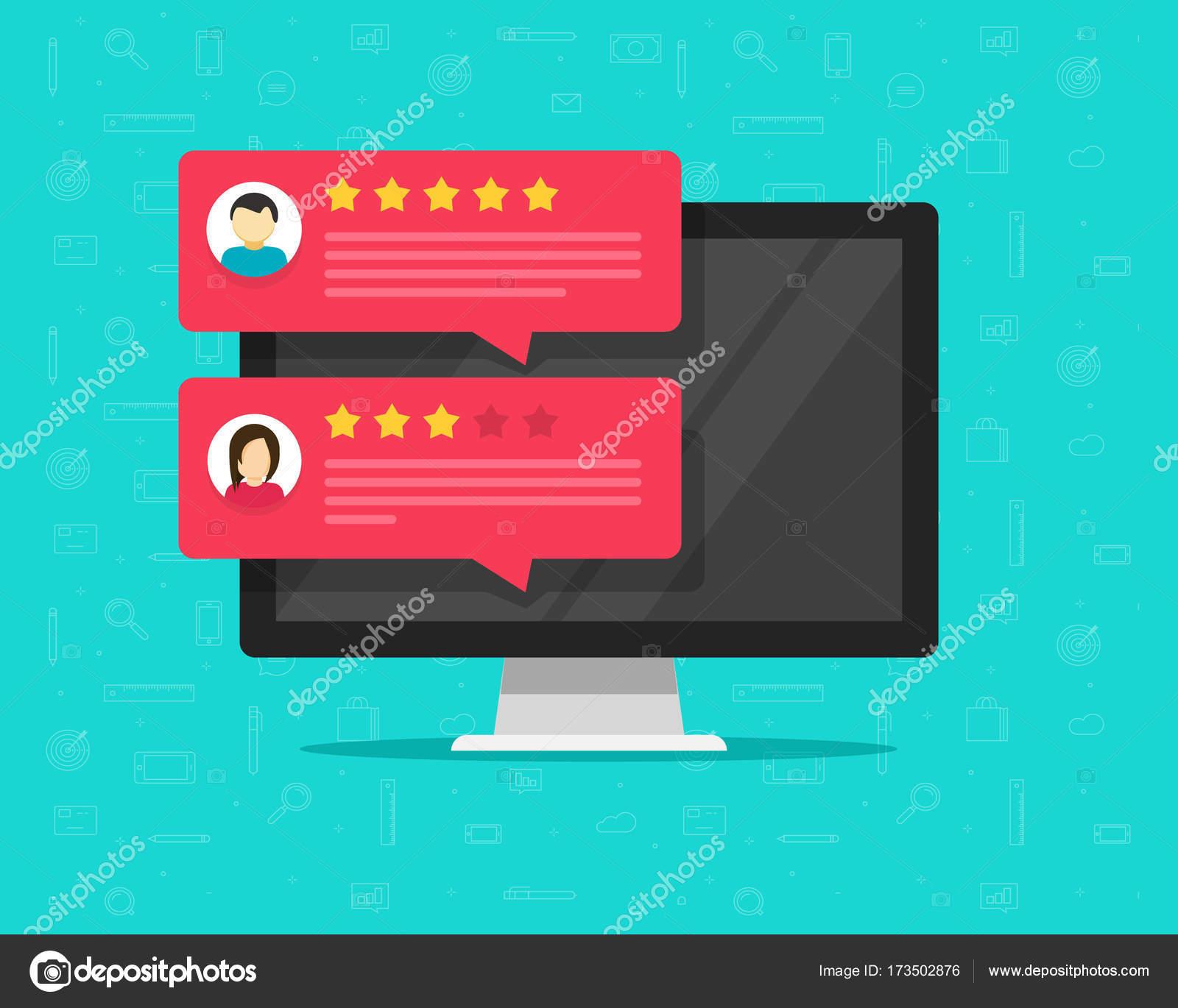 Computadoras y mensajes de calificación de informe de cliente vector ...